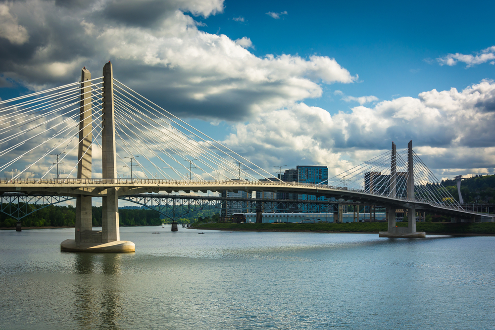 Tilikum Crossing, over the Williamette River in Portland, Oregon.