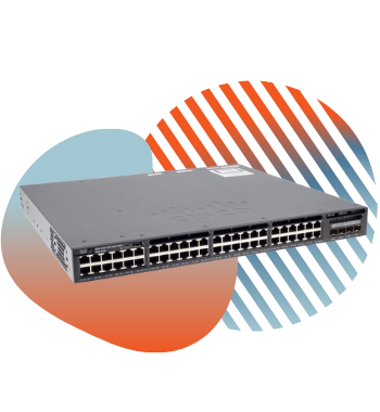 cisco switch with pivit global branding icons
